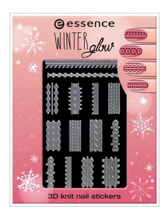 essence winter glow 3D knit nail stickers