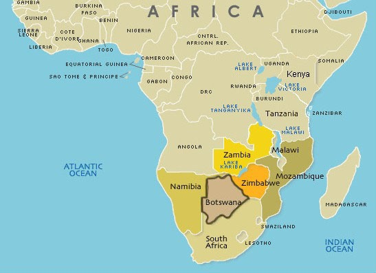 botswana-on-map